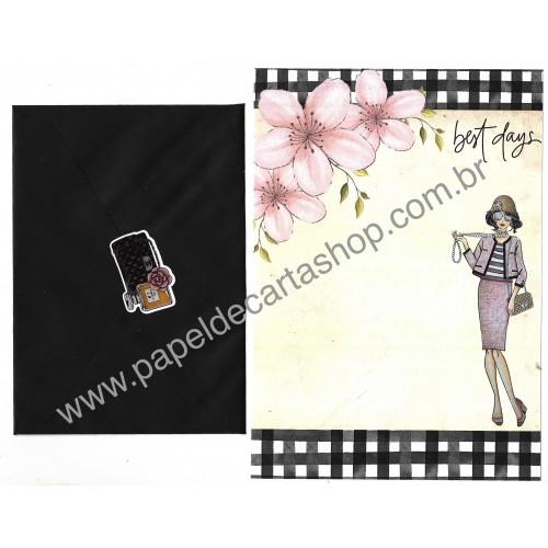 Conjunto de Papel de Carta com Envelope IT GIRLS FLOWERS - CHANEL