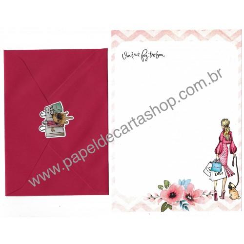 Conjunto de Papel de Carta com Envelope IT GIRLS FLOWERS - CHARLOTTE