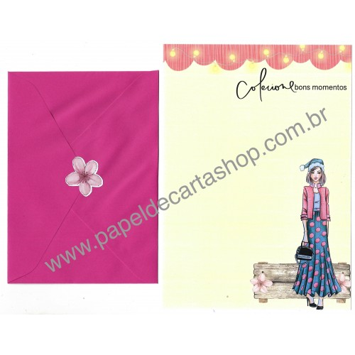Conjunto de Papel de Carta com Envelope IT GIRLS FLOWERS - FLORA
