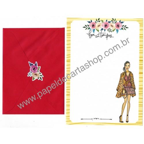 Conjunto de Papel de Carta com Envelope IT GIRLS FLOWERS - IVE