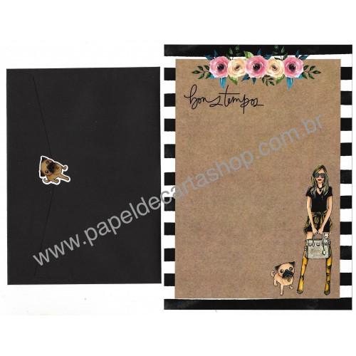 Conjunto de Papel de Carta com Envelope IT GIRLS FLOWERS - LECA