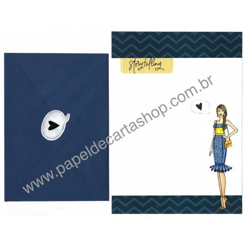 Conjunto de Papel de Carta com Envelope IT GIRLS FLOWERS - LUCY