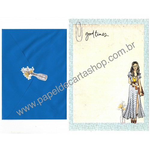 Conjunto de Papel de Carta com Envelope IT GIRLS FLOWERS - MARY
