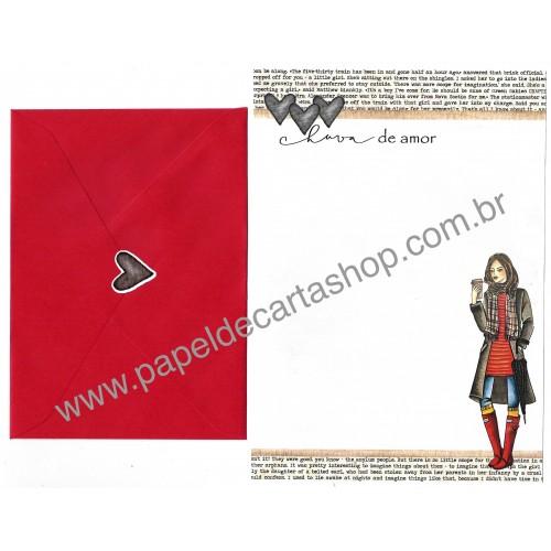 Conjunto de Papel de Carta com Envelope IT GIRLS FLOWERS - MILA