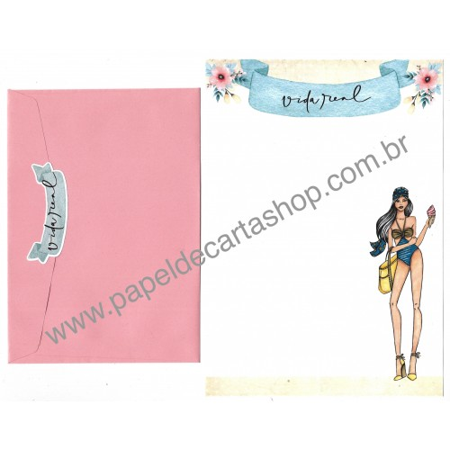 Conjunto de Papel de Carta com Envelope IT GIRLS FLOWERS - PALOMA