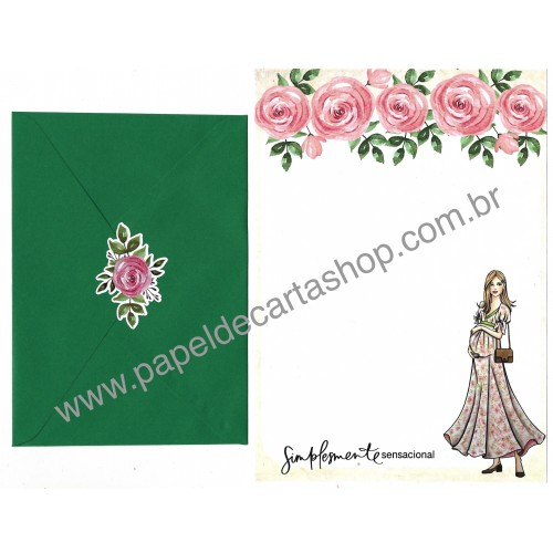 Conjunto de Papel de Carta com Envelope IT GIRLS FLOWERS - PATTY