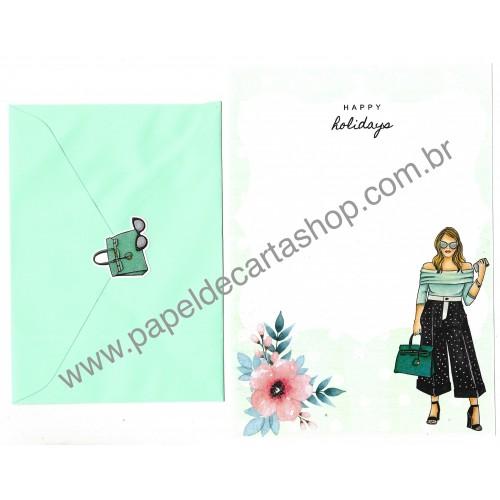 Conjunto de Papel de Carta com Envelope IT GIRLS FLOWERS - SILVIA