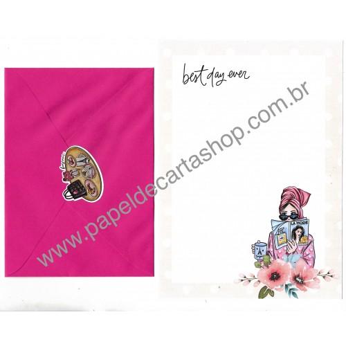 Conjunto de Papel de Carta com Envelope IT GIRLS FLOWERS - SOFIE
