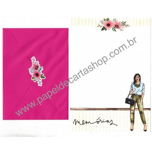 Conjunto de Papel de Carta com Envelope IT GIRLS FLOWERS - TITA