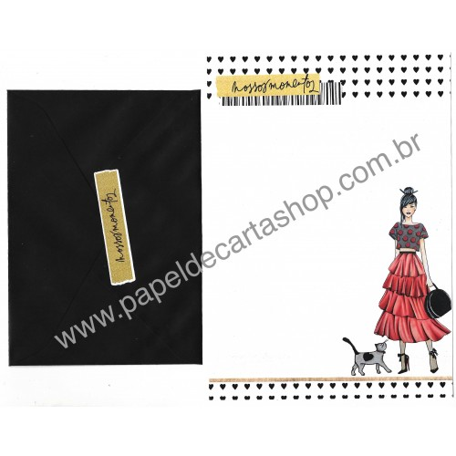 Conjunto de Papel de Carta com Envelope IT GIRLS FLOWERS - YUMI