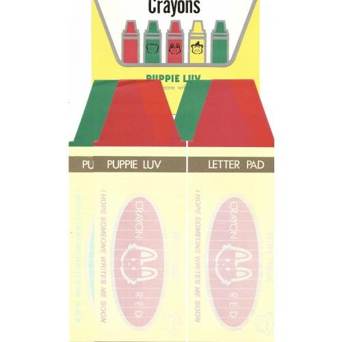 Ano 1979. Conjunto de Papel de Carta Puppie Luv Crayons Vintage Sanrio