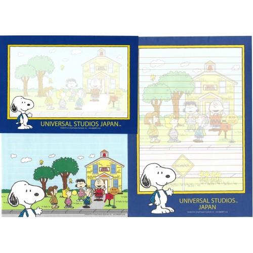 Conjunto de Papel de Carta Snoopy Universal Studios Japan BLUE