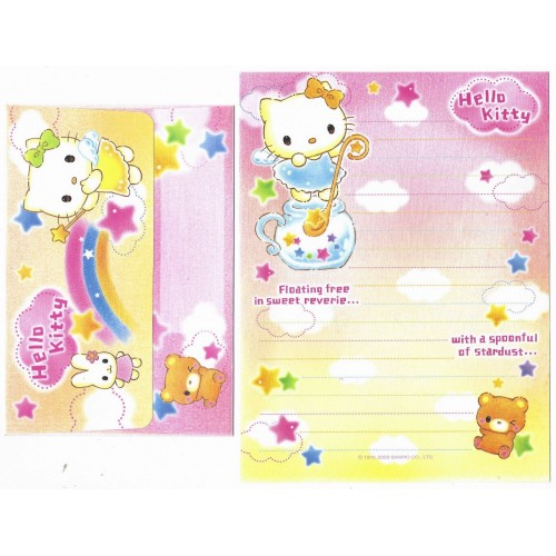 Ano 2003. Conjunto de Papel de Carta Hello Kitty Floating Free Sanrio