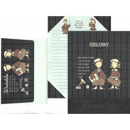 Ano 1991. Conjunto de Papel de Carta Vaudeville Duo E&M Vintage Sanrio