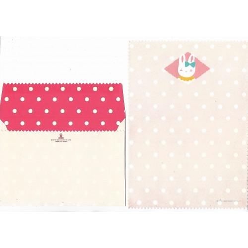 Ano 1983. Conjunto de Papel de Carta Bunny Pink Vintage Sanrio