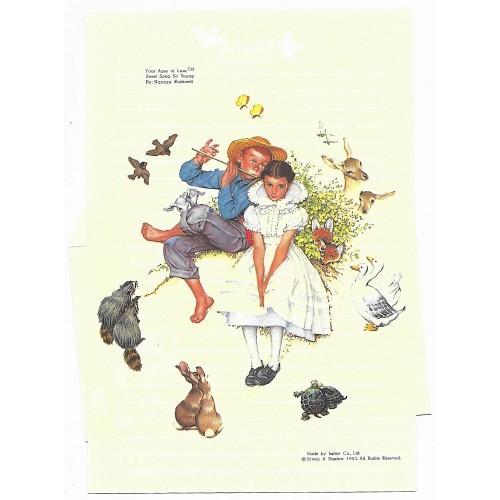 Conjunto de Papel de Carta Norman Rockwell Sweet Song So Young 1953