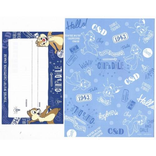 Kit 2 Conjuntos de Papel de Carta Importado Disney Chip'n'Dale Japan