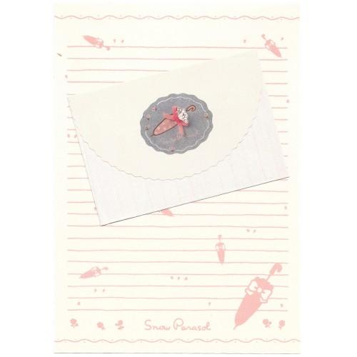 Conjunto de Papel de Carta Antigo Vintage Snow Parasol YÜKARI Japan