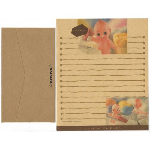 Conjunto de Papel de Carta Antigo (Vintage) Kewpie Kraft JAPAN