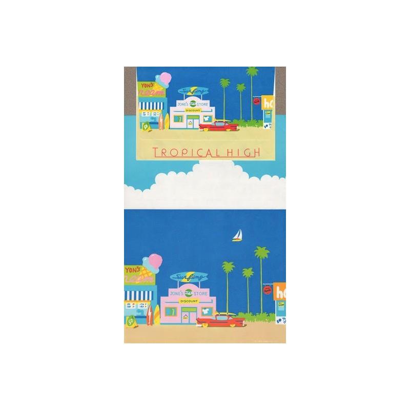 Ano 1983. Conjunto de Papel de Carta Tropical High Vintage Sanrio